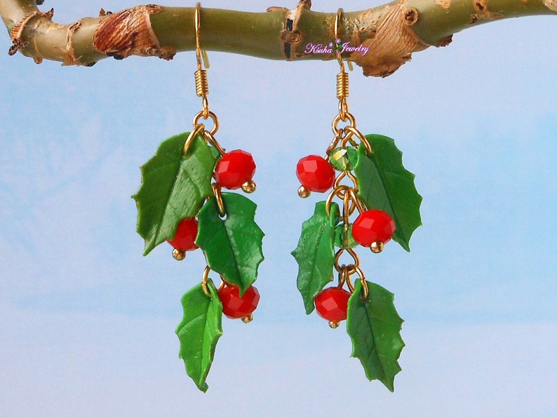 Polymer Clay Christmas Jewelry.Holly Berry Earrings Clusters Christmas Jewelry Polymer Clay Holiday Earrings Red Berry Holly Jewelry Winter Earrings Christmas Gift