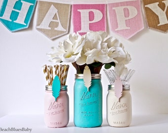 Boho Baby shower / pink and blue decor / party decor / painted mason jars / boho baby shower / aqua pink cream / set of 3