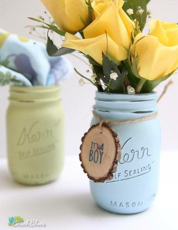 1 Painted Mason Jar / Baby Shower Decor / Centerpiece / Vase / Party Decor  / Pint jar / rustic baby shower / rustic home decor / shabby chic