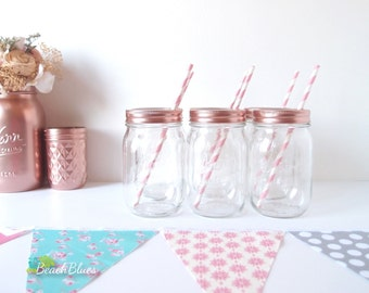 Rose gold, copper mason jar glasses, (1) clear jar and lid, rose gold copper party decor, baby shower decor, pink girl party, lid and band