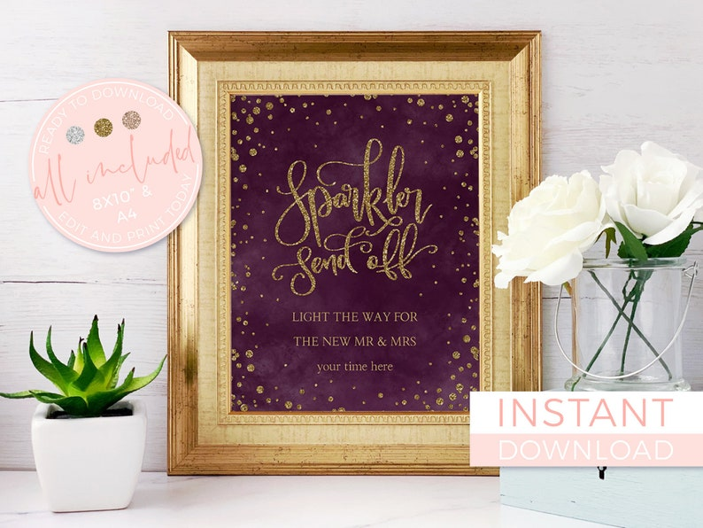 Red And Gold Sparklers Send Off Personalised Wedding Sign