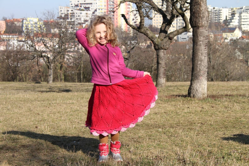 Kids easy skirt Toddler girl clothes A line boho skirt Ruffle skirt row by row Crochet girls skirt pattern Wind Blowing Size 2-10 years