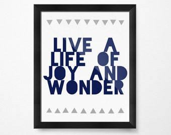 Art for Boys Room Decor, Girls Room Decor, Joy and Wonder Navy, PRINTABLE Art, Inspirational Prints, Positive quotes, Wall Art Printable