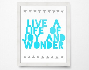 Art for Boys Room Decor, Girls Room Decor, Joy and Wonder Aqua, PRINTABLE Art, Inspirational Prints, Positive quotes, Wall Art Printable
