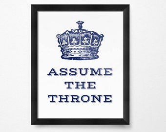 Kids Bathroom Signs, Kids Bathroom Decor, For Men, Assume The Throne,  Bathroom Art PRINTABLE Art, Bathroom Wall Decor, Bathroom Printables