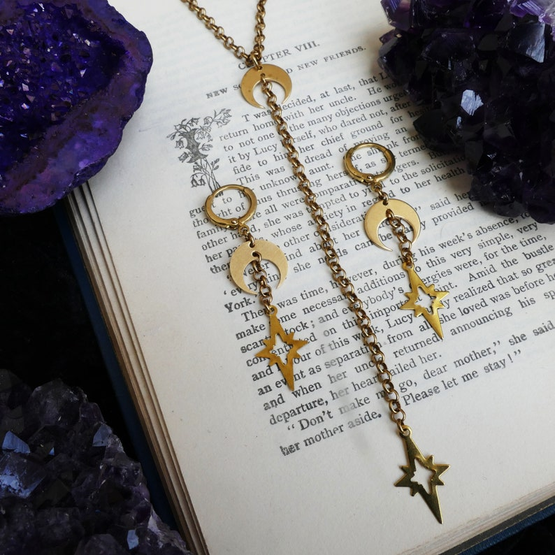 Witchy Necklace brass moon and star necklace modern witch style moon child gifts wiccan gifts modern witch necklace moon charm necklace