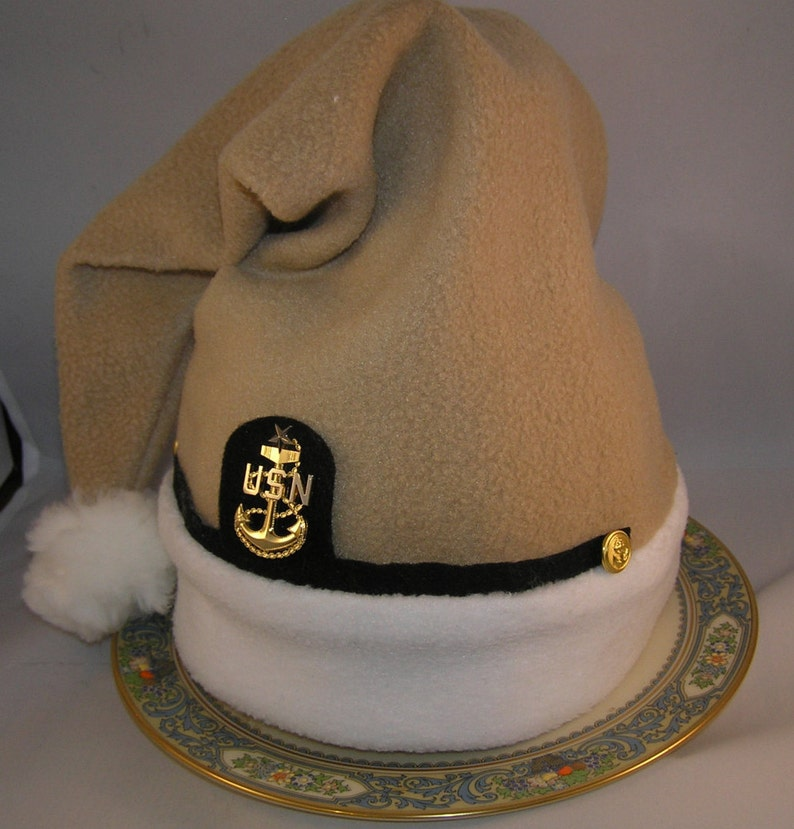 45686624a7703 Navy Chief Petty Officer Khaki Santa Hat FREE Shipping