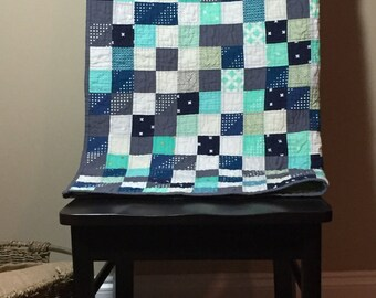 Baby Boy Baby Quilt with Mint, Aqua, Gray, Blue, White Squares