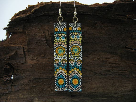 Mandala Earrings Gift For Her Boho Chic Statement Earrings Boho Earrings Fashion Jewelry Mandala Jewelry Polymer Clay Earrings