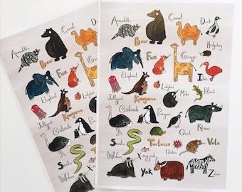 Animal Alphabet Poster A3