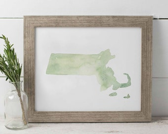 Massachusetts Watercolor Print, Boston MA Watercolor, State Watercolor Print, Massachusetts Wall Art, Green State Watercolor MA