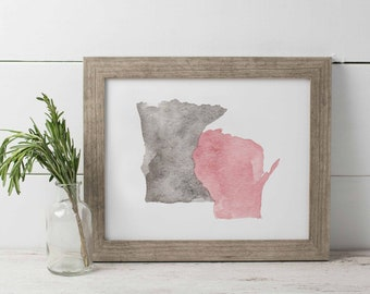 Minnesota and Wisconsin Watercolor Print, Midwest Home Print, MN and WI Watercolor, Minnesota Love Print, Wisconsin Print, Minnesconsin