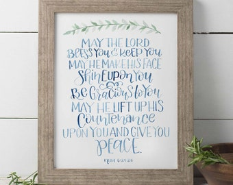 May The Lord Bless You And Keep You Watercolor Print, Benediction Wall Art, Scripture Verse Print, Bible Verse Print, Graduation Gift