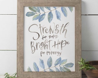 Strength For Today Bright Hope For Tomorrow, Hymn Lyrics Wall Art, Watercolor Floral Print, Watercolor Hymn, Great Is Thy Faithfulness