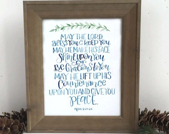 May The Lord Bless You Watercolor Print, Benediction Wall Art, May The Lord Bless You and Keep You, Scripture Verse Print, Bible Verse Print