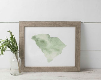 South Carolina Watercolor Print, SC Watercolor, State Watercolor Print, Carolina Wall Art, State Watercolor SC, Charleston, Myrtle Beach