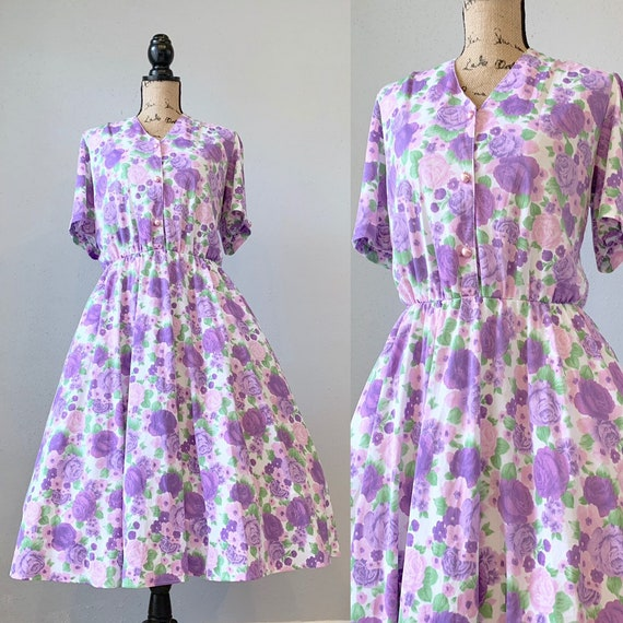 Vintage Light Purple Floral Day Dress