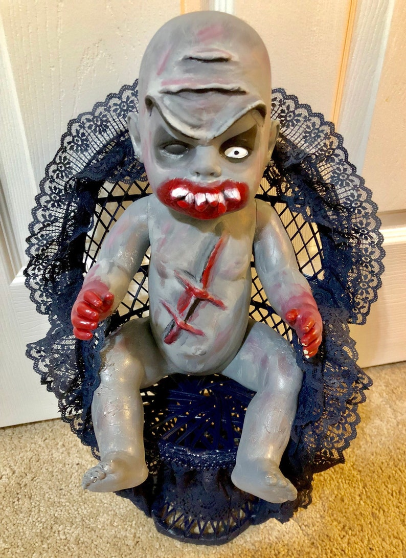Halloween Zombie Baby Prop.Creepy Doll Baby Zombie Hand Painted Halloween Horror Zombie Prop Decoration Scary Halloween Decorations Undead Evil Dark Art Goth