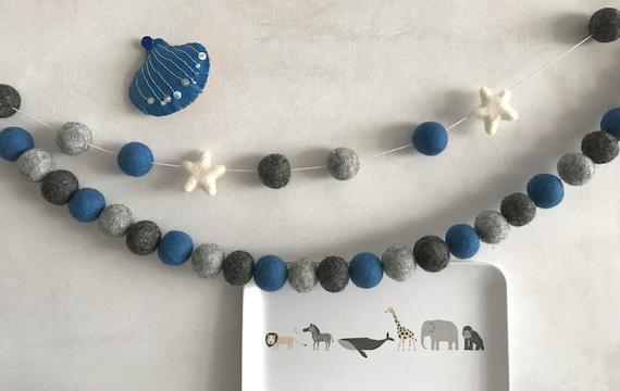 Guirlande boule, chambre de bébé garçon, garçon guirlande de fanions, bleu  et gris, chambre de bébé moderne, bleu pépinière, pépinière nordique, thème  ...