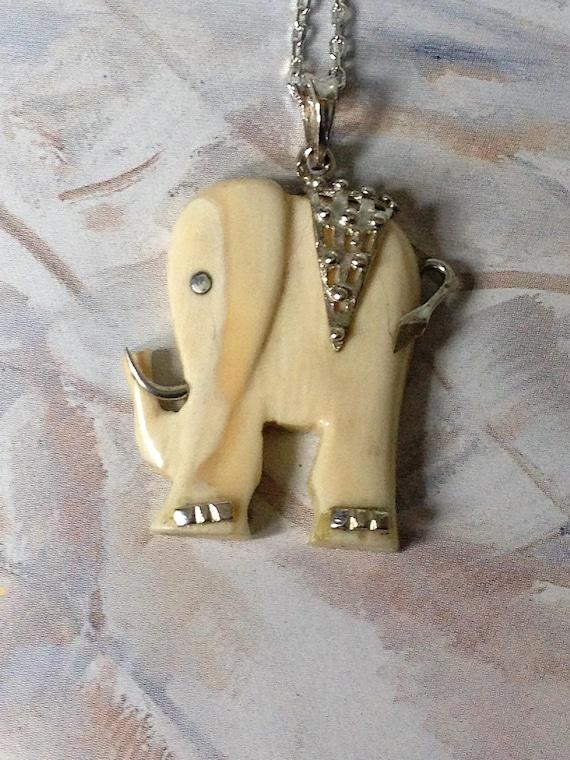 Elephant Necklaceelephant Pendant Carved Silver And Bone Etsy