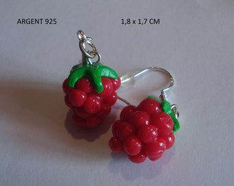 Earrings currant all polymer clay miniature-earring jewelry-fruit gourmet