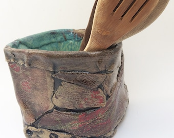 Stoneware Canister, Open Top Cube, Rustic Weird Vase, Asymmetrical Crock, Utensil Holder, Orchid Pot