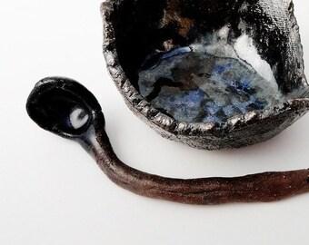Small Decorative Spoon, Rustic Primitive Twisted, Dark ,  Brutalist Pottery