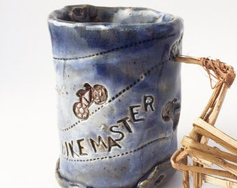 Bike Master Cup, Bicycle, Primitive Clay Tumbler, Rustic Pottery Cup, Blue and White Stoneware Cup, Wabi Sabi, Hobbitware, 6 oz