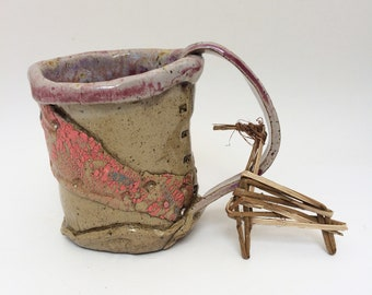 Wonderful Rustic Pink Mug, 13 oz, Primitive Coffee Cup