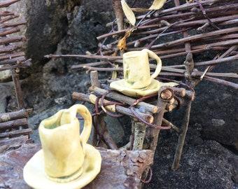 Tiny Hobbit Tea Set, 9 Pieces, Handcrafted Rustic Primitive Pottery Miniature, for Fairies, Elves, BJD