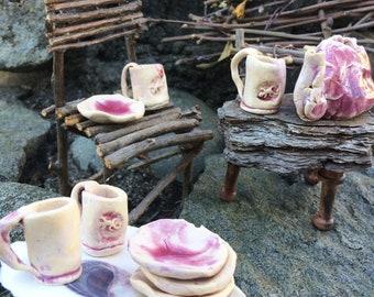 Tiny Hobbit Tea Set, 9 Pieces, Handcrafted Rustic Primitive Pottery Miniature, for Fairies, Elves, BJD, Pink and Cream