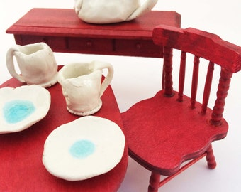 Dollhouse Tea Set, Rustic Miniature Tea Service, 9 Piece Mini, White, Fairy Tea Party