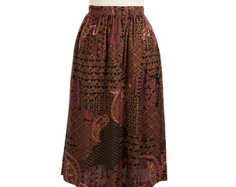 Vintage 1980s printed pleated skirt - Retro 80s A-Line knee-length cotton skirt - Eighties paisley pleat high-waist midi skirt