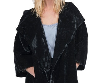 Vintage 1960s mid length black velvet jacket - 60s crushed velvet coat -  Sixties oversized large collar jacket 06814763e