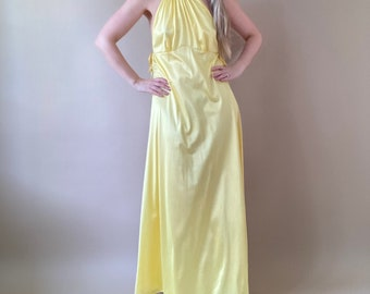 70s Yellow Nylon Night Dress  Evening Dress  Small Large