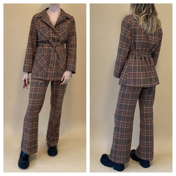 1970s wool plaid two piece suit // vintage wool su