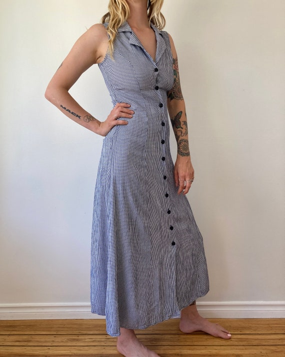 90s Gingham Button Up Maxi Dress // Small
