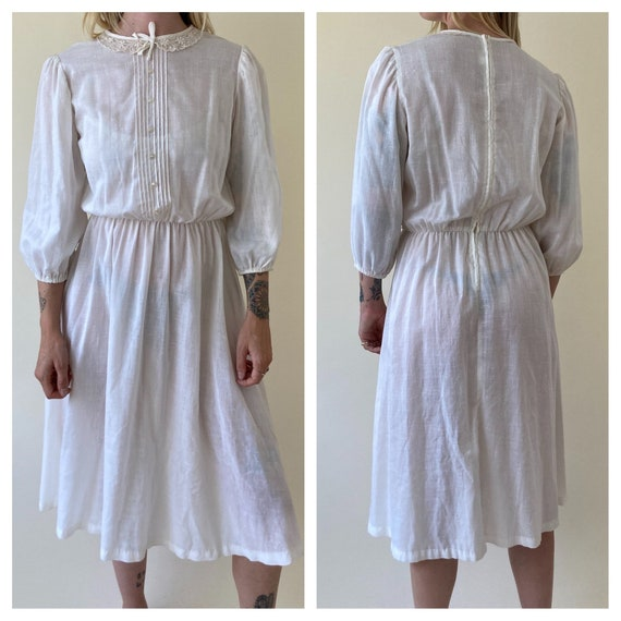 70s White Peasant Dress // Wedding Dress // Small