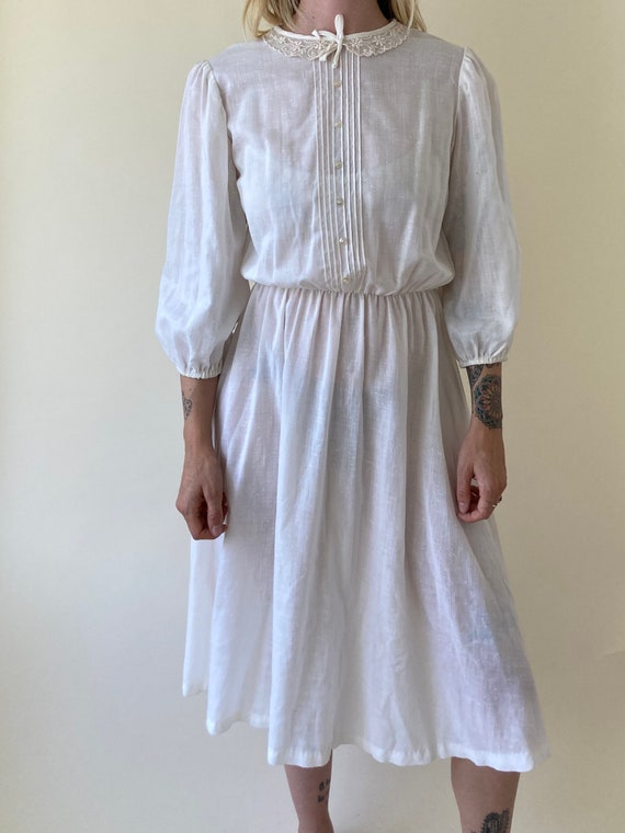 70s White Peasant Dress // Wedding Dress // Small