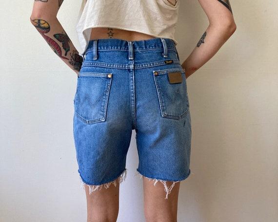 Wrangler Denim Shorts 80s Cut Off Shorts Blue Denim Frayed Hem Distressed Shorts 1980s CutOffs Short Shorts Daisy Dukes High Waisted Small