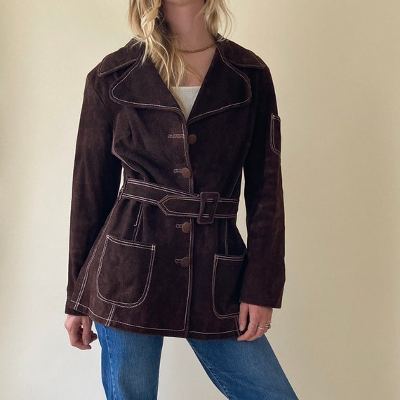 70s Brown Suede Leather Coat // Blazer Style Jacke