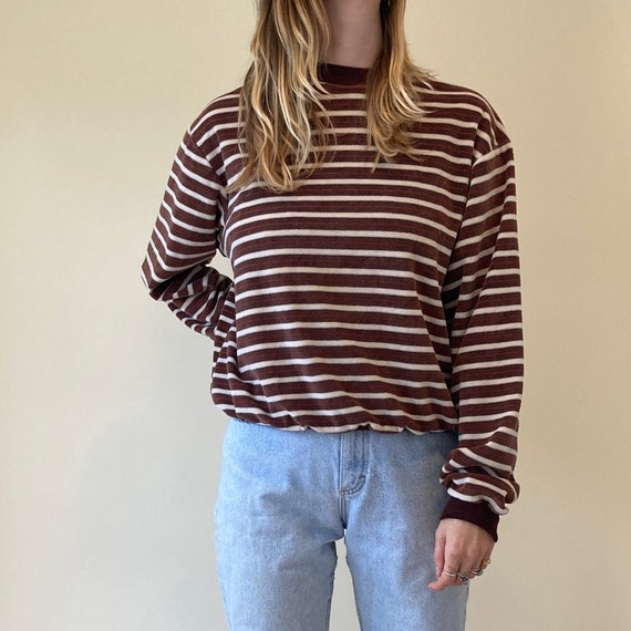 90s Brown Striped Velour Pullover Sweater // Sweat