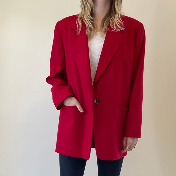 80s Red Wool blazer // Oversized Blazer w/ Shoulde