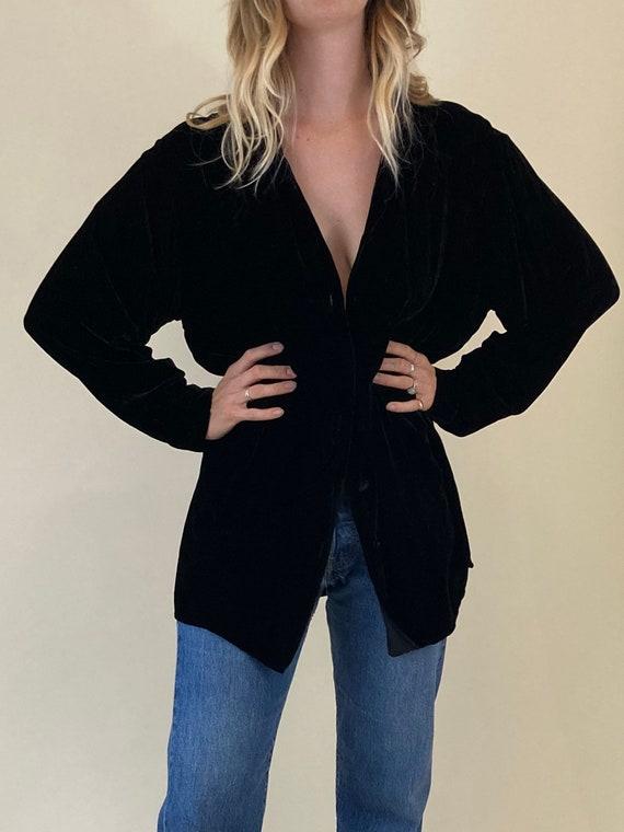 90s Black Velvet Button Up Shirt // Gypsy Crushed