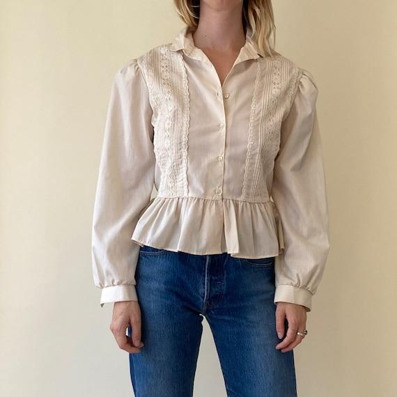 70s White Peasant Ruffle Blouse // Lace Folk Top /