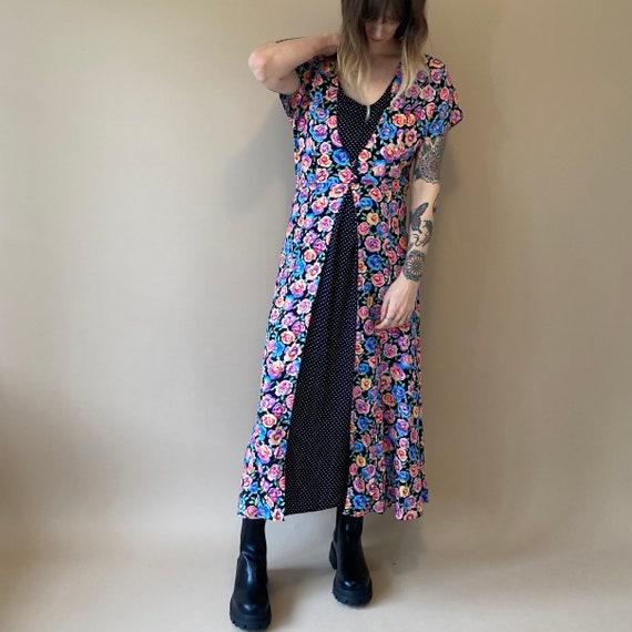 90s Floral Rayon Dress // Floral Print Maxi Dress
