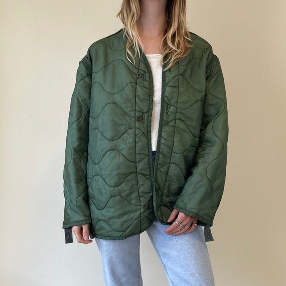 80s Nylon Army Jacket liner // Medium
