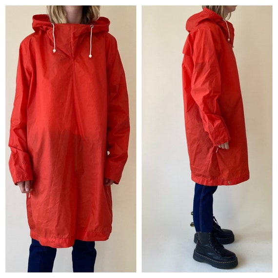 90s Neon Orange Rain Poncho // Rain Coat // Medium