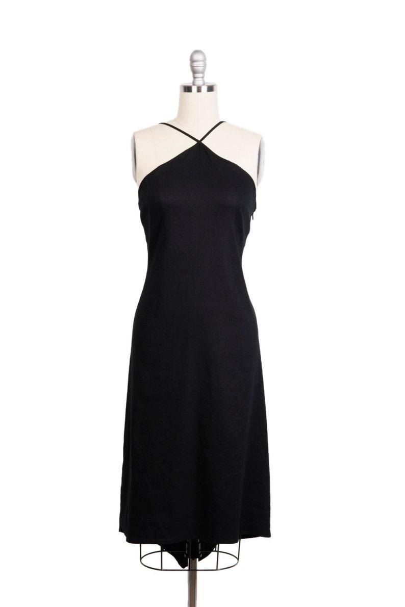 44430fb1bc Vintage 1990s goth lace up back black linen dress 90s simple