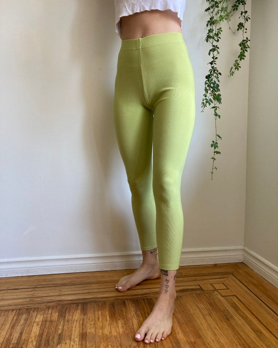 90s Lime Green Stretchy Ribbed Tights Pants // Ext